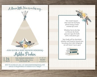 Tribal Floral Teepee Baby Shower Invitations • Brave Pow Wow Invites • arrows feathers flowers native • printable