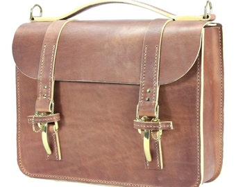 "American Harness Herman Oak Leather Big Luggage Case 16"" x 12"" x 5"" - Marcellino NY - Ready To Ship"