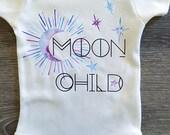 Moon Child, Stars, Hippie, Boho, Baby, Boy, Girl, Unisex, Infant, Toddler, Newborn, Organic, Bodysuit, Outfit, One Piece, Clothes, Tee