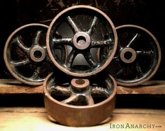 Antique Iron Wheels, Coffee Table Wheels, Cast Iron Wheels