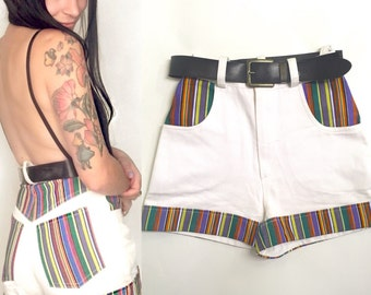 90's White & Rainbow Striped High Waist Shorts