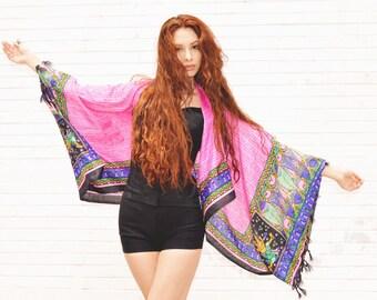 pink kimono jacket, crop kimono, cropped jacket, beach jacket, gypsy style festival bohemian indian top, coverup, silk cardigan