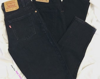 Black Vintage High Waisted Tapered Womens Plain Levis