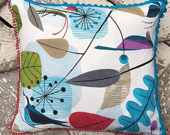 Funk Modern Scandinavian Birds & Bugs Pillow, in Turquoise