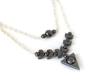 Black Haematite Layered Necklace, Hematite Jewellery, Triangle Gemstone Necklace, Metallic Tone, Stone Layer Jewelry, Two Strand Necklace,