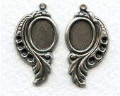1 Pair Leaf Settings - Silver Plated Settings with Loop - Right and Left Hand
