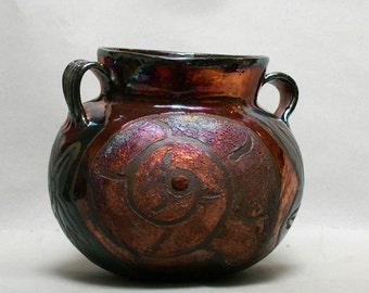 "Raku Pottery Art Collectibles Seashell Ceramics Vase Pottery Urn Nautilus Starfish Home Decor with Handles 7x9x9"" inches"