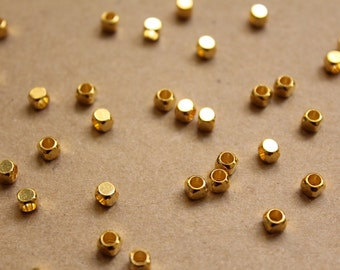 50 pc. Gold Plated Brass Rounded Corner Cube Spacer Beads, 4mm by 4mm | FI-284