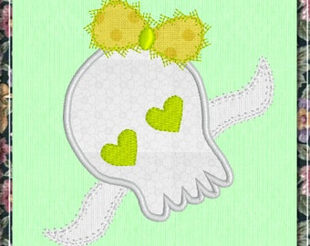 Cute Girl Skull With Bow - Applique - Digitized Embroidery Design