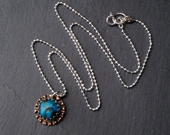 Silver And Bronze Turquoise Pendant Necklace- Mixed Metal Necklace- Turquoise Jewelry- Metal Clay Necklace- Gemstone Pendant Necklace