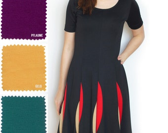 "Dress ""Kyra"" made up in your favourite colours, with short sleeves, colorblocking detail and fit-and-flare shape, jersey dress, A line"