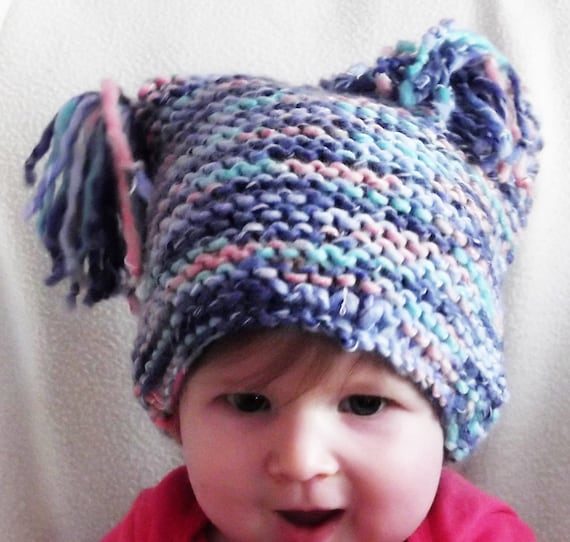 Baby Hat Loom Knit Square with Tassels Soft Acrylic Blue Variegated