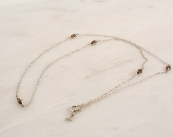 Smoky Topaz By The Yard Marquise Necklace in 14K Gold