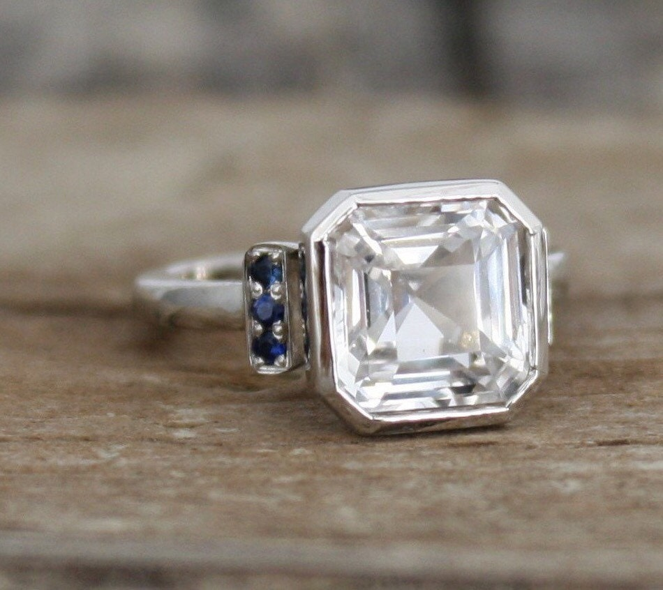Asscher Cut White Sapphire Bezel Ring in 14K White by ...
