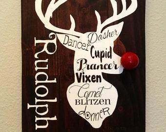 Reindeer Sign, Rudolph, Christmas Sign, Holiday Sign, Rustic Christmas Decor, Silent Night, Buck Wood Sign, Deer, Mistletoe, Santa Reindeers