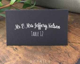 Wedding Place Cards, Premium Black Elegant Printed Placecards, Table Cards, Name Cards Calligraphy, the ASHFORD