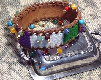 Colorful Cuff Bangle Assemblage Bracelet Southwestern Bohemian Dangling Gemstones Agates Leather Ethnic Woven Tribal Fabric Upcycled