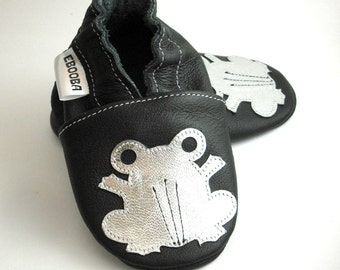 soft sole baby shoes leather infant kids children girl boy gift frog silver black 18-24 m bebes garcon fille chaussons ebooba FR-3-B-T-4