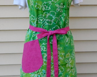 Ladies Reversible Green and Hot Pink Full Apron Women's Gift Hostess Gift Baker's Gift Spring and Summer Trends