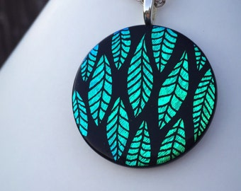 """Hand etched dichroic glass """"Falling Leaves"""" pendent"""