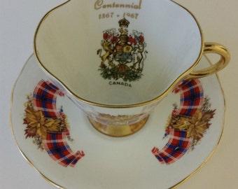 Canadian Centennial Windsor Teacup  With  Royal Canadian Tartan