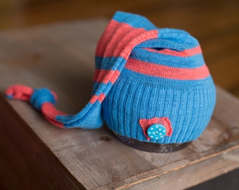 Upcycled Newborn Hat Blue Orange Coral Striped Stocking Hat with Polka Dot Button Ready To Ship Newborn Photography Prop