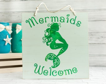 Mermaids Welcome Pallet Sign - Nautical Beach Pallet Art - Mermaid Chalk Paint Wood Sign