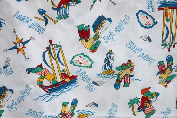 Vintage alligator pirate and parrot fabric by the yard for Kids pirate fabric