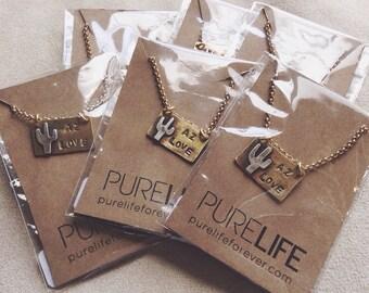 AZ Love Necklace// Cactus Necklace// Modern Brass Jewelry