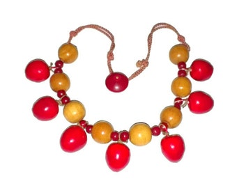 Cherry Necklace Wooden Beads on String with Button Closure