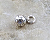 Sterling Silver Soccer Ball Charm on Sterling Silver Split Ring - 0730