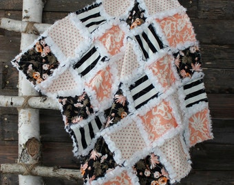 Modern chic, glamorous white, black apricot pink minky baby girl rag quilt with florals and graphic stripes, READY TO SHIP