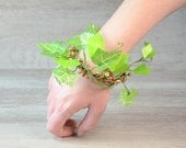 Ivy Hand Cuff Leaf Bracelet Fairy Arm Cuff Whimsical Woodland  Bridesmaid hair bun crown high hair bun floral flower bracelet Wrist Corsage