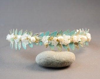 Mint Green leaf tiara pearl crown wedding headband gold leaf crown leaf headband Grecian Headpiece Goddess Laurel Leaf Crown leaf bohemian