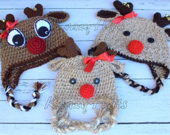 Crochet Reindeer hat.Made to Order