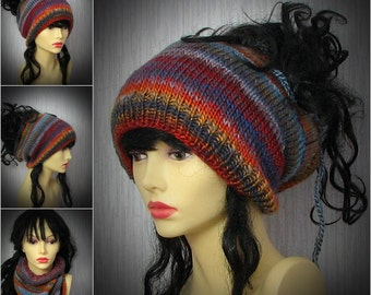 Colorful Dread Baeanie hat, dreadlock headband, Tam Hat wide hair wrap, handmade  Dread Sock /Winter Hat