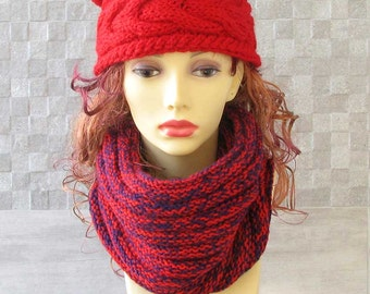 chunky scarf cowl - hand knitted scarf - tube cowl - knit