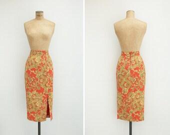 1990s Skirt - Vintage 90s Baroque Print Tube Skirt - Casa Casuarina Skirt