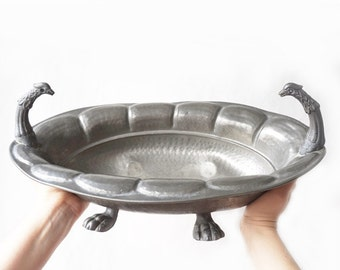 Antique big heavy pewter Dish Griffins Handles,antique Italian Oval Dish ,vintage large pewter bowl