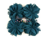 "3.2"" Chiffon Ballerina Flowers - Military Green/Forest Green Color - Unfinished - Spring/Summer/Birthday -  Hair Acessories Supplies"