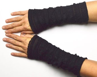 Arm Warmers light Wrist Warmers  jersey black flouncy romantic go out
