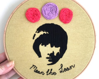 Hand Embroidered Keith Moon 'Moon the Loon' Hanging/Leaning Art - 8 inch Wooden Hoop Frame