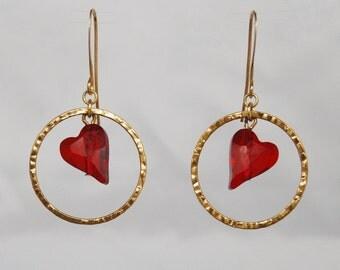 Love Heart Swarovski Crystal Earrings