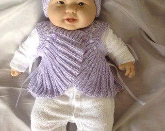 Baby Sweater Wrapover and Hat Set Ready to Ship Now