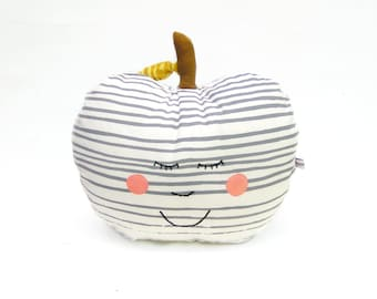 Decorative pillow, apple pillow happy face