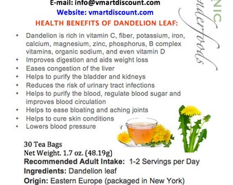 Simply Natural 100% Organic Dandelion Leaf Tea Herbal Supplement 30 Bags- Caffeine Free