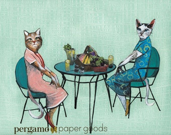 Cat Friends Art Print | Kitsch Cat Decor | Handmade Feline Collage | Lunch Art | Unique Picnic Scene | Retro Cat Wall Art | Best Friends