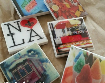 New Orleans, Magnets, Set of 5 Large Tile Magnets, New Orleans Images, wholesale, corporate gifts, wedding favors, birthday gift, NOLA