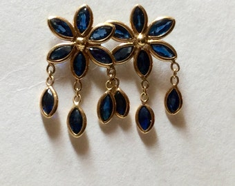 14K Yellow GOLD and SAPPHIRE EARRINGS - Gold Posts - Natural Gems - Hallmarked