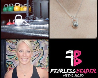 Large Kettlebell Necklace, Gym Jewelry, Fitness Necklace, Fearless Necklace, Kettlebell, Workout Motivation, Inspiring Jewelry, Fearless